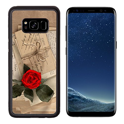 (MSD Premium Samsung Galaxy S8 Aluminum Backplate Bumper Snap Case dry red rose and old love letters vintage postcards envelopes valentines day Image ID 27134118)