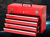 4 Drawers-Thick Metal Toolbox Four - level Portable Multi - Functional-Red#021153