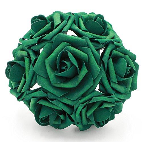 50 pcs Artificial Flowers Foam Roses Various Colors For Bridal Bouquets Wedding Centerpieces Kissing Balls (Emerald)