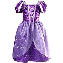 Little Girls Princess Rapunzel Dress Costume, Purple, Medium 110cm for 3 Years