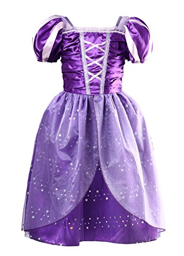 Little Girls Princess Rapunzel Dress Costume (Purple, 140cm for 7-9 -