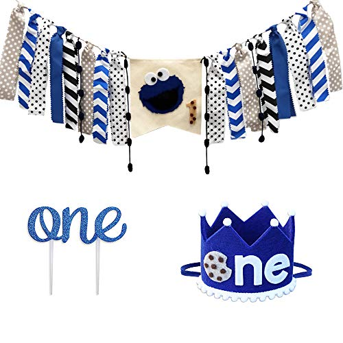 First Birthday Decorations Party Supplies-1PCS 1st Happy Birthday Cookie Monster High Chair Burlap Banner+1PCS NO.1 Crown+1PCS ONE Cake Topper-Sesame Street Theme