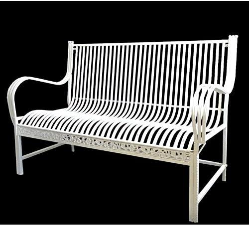 Gran banco – Banqueta asiento de jardín silla (hierro y hierro fundido blanco 75 x 98 x 137 cm: Amazon.es: Jardín