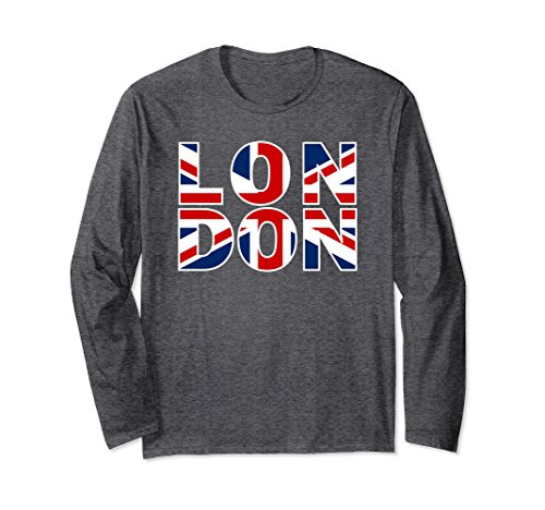 British Flag Colors (Unisex London England Shirt - British Flag London Long Sleeve Shirt Large Dark Heather)