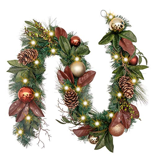 Valery Madelyn Pre-Lit 72 Inch Woodland Christmas Garland with Glittery Ball Ornaments and Pine Cones, Battery Operated 20 LED Lights (Operated Battery Lit Pre Garland)
