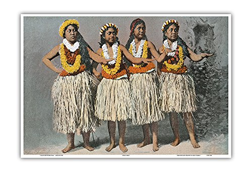 - Pacifica Island Art Hawaiian Hula Dancers - Vintage Hawaiian Color Postcard c.1880s - Hawaiian Master Art Print - 13 x 19in