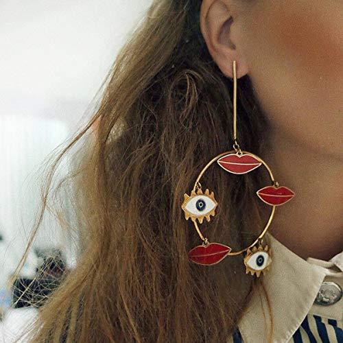 Doubnine Large Hoop Circle Bohemian Earrings Dangle Funny Gold Red Lips Eyes 80's Vintage Women Girls Jewelry