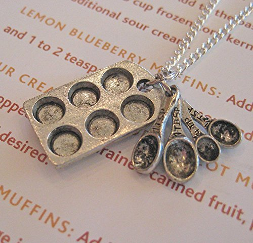 - Muffin Pan & Measuring Spoons Necklace, Baker's Necklace, Cupcake Pan Necklace, Baking Themed Jewelry