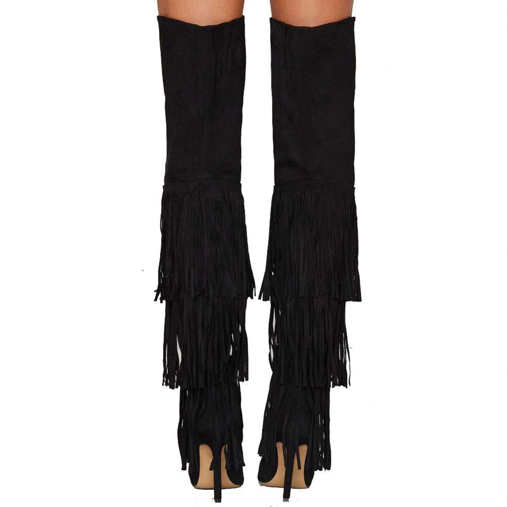 ¥schuhe Weibliche Dünne Stiefel wies Dünne Weibliche Hohe Ferse Quaste Seitlichem Reißverschluss Large Größe 5e77c6