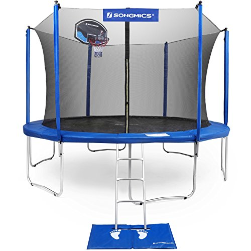 SONGMICS Outdoor Trampoline 15' for Kids with Basketball Hoop & Backboard Enclosure Net Jumping Mat & Safety Spring Cover Padding Tüv Rheinland Certificated According to ASTM & GS USTR15BU (Best Trampoline Basketball Hoop)