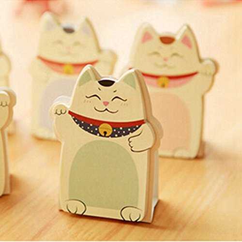 KitMax (TM) Pack of 6 Sets Cute Lucky Cat Shaped Sticky Notes Gift for Students Children, Style May Vary
