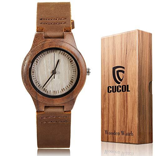 (CUCOL Men's Walnut Wood Cowhide Leather Strap Watch Wooden Case Analog Quartz Wristwatch with Gift Box)