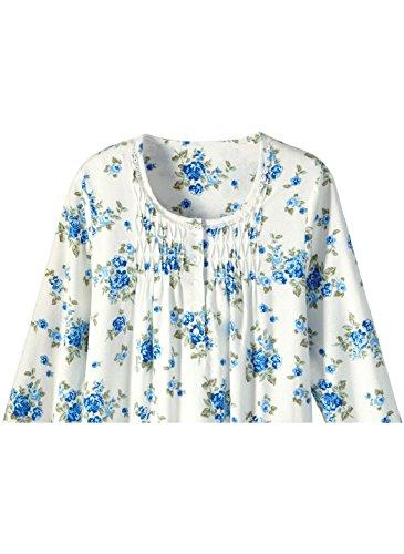 100% Cotton Flannel Gown, Color Blue, Size Large, Blue, Size Large (Flannel Button Front)
