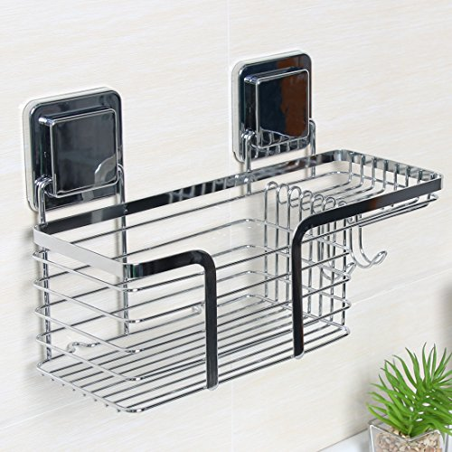 Komost Bathroom Shower Caddy, Stainless Steel Bathroom Corner Shelf, Shower Storage Organizer with Soap and Hook for Shampoo, Shower Gel, Perfume, Shaver or Towel for sale