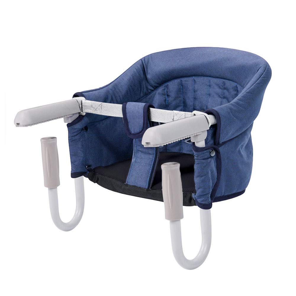 Decha Easy Diner Portable Hook On Chair, Fold-Flat Storage and Tight Fixing Clip on Table High Chair Removable Seat Cushion Fast Table Chair (16.5 x 13 x 10.6 inches, Navy Blue)