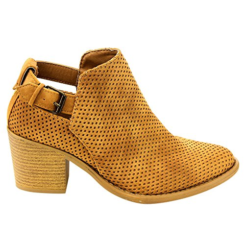 Qupid Chunky Stacked Cut Tan Perforated Diamond Booties Women's Heel Out Ankle XFwPrXq
