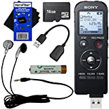 Sony ICD-UX533BLK Digital Voice Recorder with Direct USB & Built-in 4GB + 16GB MicroSDHC Memory Card + Stereo Headphones + Rechargeable Battery + USB Cable + HeroFiber® Ultra Gentle Cleaning Cloth