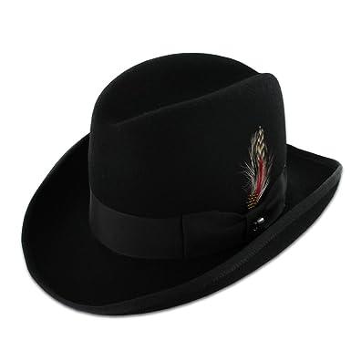 18de84abcbd Belfry Homburg Men's 100% Wool Felt Homburg Hat in Black Made in The USA