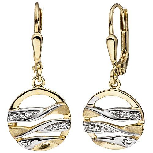 Boucles d'oreilles-boucles d'oreilles pendantes avec Oxyde de Zirconium-Or jaune 333bicolore Mat rond Bijou d'oreille