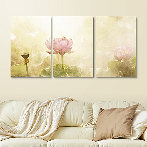 3 Panel Watercolor Style Lotus Flowers and Leaves Gallery x 3 Panels