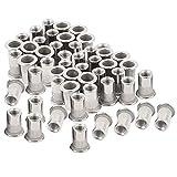 """50pcs Stainless Steel 1/4""""-20 Rivet Nuts Threaded Insert Nutsert Rivnuts"""