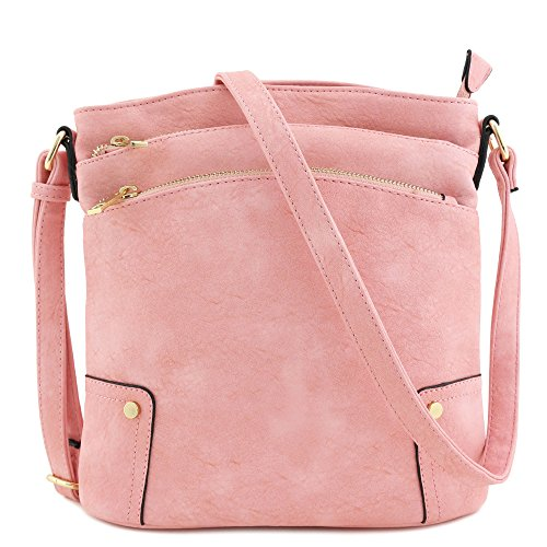 Pink Cross Body (Triple Zip Pocket Large Crossbody Bag (Pink))