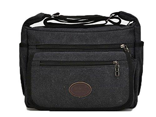 VogueZone009 Femme Toile Zippers Mode Décontractée Des sacs Sacs à bandoulière,CCAFBP180956 Noir