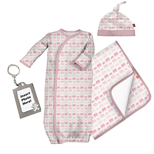 Magnetic Me Elephant Silky Soft Eco-Friendly Newborn Gown Hat and Blanket (Clark Kent Outfit)