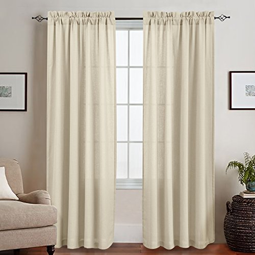 Semi Sheer Curtains for Living Room 95 inches Length Curtain Privacy Drapes Casual Weave Curtain Panels for Bedroom Rod Pocket Window Panel Set Beige ()