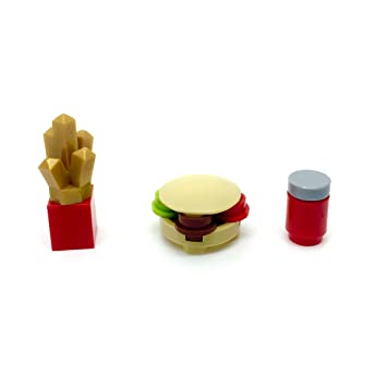LEGO Burger Chips and Drink for Minifigure Food City Town: Amazon.co ...