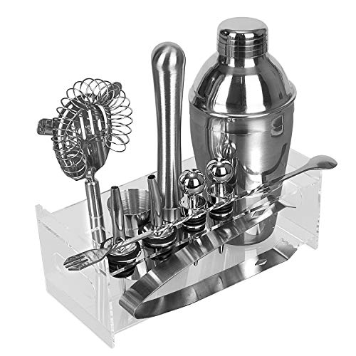 K Kwokker Modern Cocktail Shaker Set Stainless Steel Bar Set Perfect Home Bartending Kit, Wine and Cocktail Mixing Bar Set, Rustproof Mould Proof Easy Clean Barware Tool Set