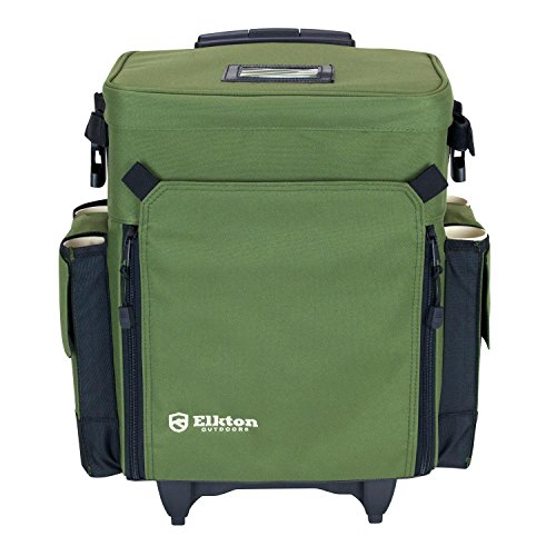 Elkton outdoors rolling tackle box green l 15 7 x w 9 6 for Bass fishing tackle box