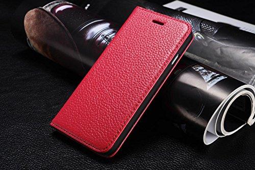 iphone6手帳型携帯カバー 美麗レザー6色 二つ折り財布型ダイアリータイプ 高級革黒白赤青黄緑ピンク茶紺ベージュオレンジスエード アイフォン6スマホケース (目印に便利、「ホナまたステッカー」付き)[ケンコバハンズ](ローズ)