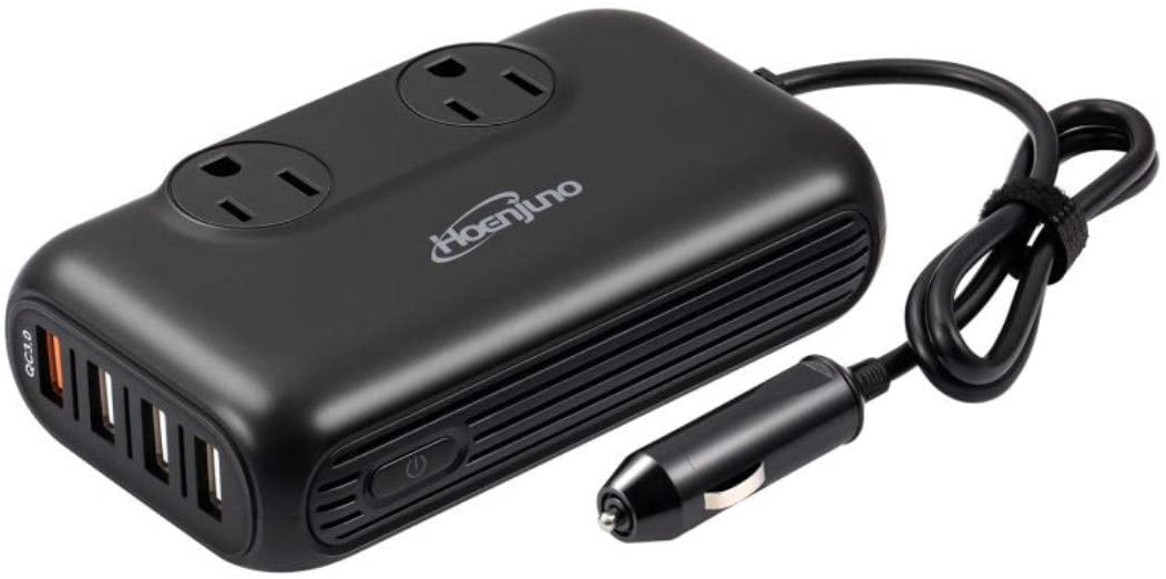 Hoenjuno 200W Car Power Inverter DC 12V to 110V AC Car Charger Adapter 4 USB Ports Car Outlet and QC 3.0 Ports Car Plug Converter with Switch for Phone, iPad, Laptop, Camera, Camping, etc