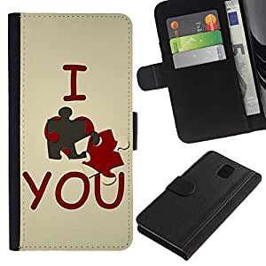 ZONECELL Imagen Frontal Negro Cuero Tarjeta Ranura Trasera Funda Carcasa Diseño Tapa Cover Skin Protectora Case Para Samsung Galaxy Note 3 III N9000 N9002 N9005 - te amo lindo