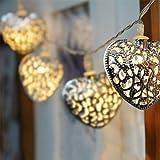 GLADLE Romantic 10LED Silver Metal Heart Fairy String Light Decoration Bild 1