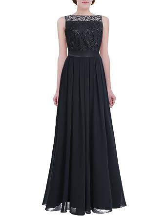 cb18c4cde21e YiZYiF Women Crochet Lace Wedding Bridesmaid Formal Gown Prom Party Maxi  Dress Black 4
