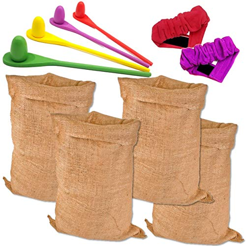 Potato Sack Race Bags – 3 Outdoor Games for Kids and Adults. Including Large Durable Burlap Potato Race Sacks, 3 Legged Race, Egg and Wooden Spoon Relay. Fun Backyard, Picnic, -