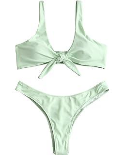 6f322b4b71 Amazon.com  ZAFUL Women s 2 Pcs Bikini Triangle Top Brazilian Bottom ...