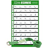 """Avocadu Yoga Poses for Beginners Poster with 6"""" Yoga Strap Included- Premium 16""""x 24"""" Poster with Illustrated Yoga Flow Poses for Easy Home Workouts"""