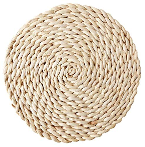 Woven Placemats Dining Table Mats - 1pc Natural Handmade Corn Straw Braided Mat Round Water Hyacinth Placemats, Heat Resistant Hot Insulation Anti-Skidding Pad (3.3 inch(1pc))]()