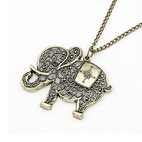 Doinshop Women Girl Pendant Jewelry Retro Bronze Elephant Chain Necklace