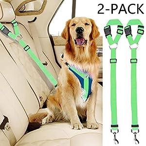 Vehomy 2 Packs Dog Cat Safety Seat Belt Strap Car Headrest Restraint Adjustable Nylon Fabric Dog Restraints Vehicle… Click on image for further info.