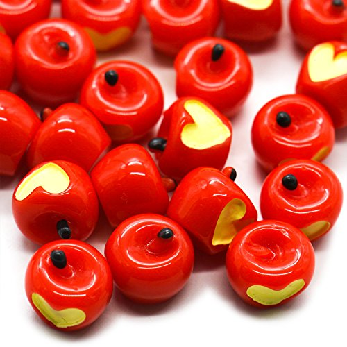 HUELE 30 Pcs Slime Charms 3D Apples Resin Fruit Slime Beads for Arts Crafts DIY Ornament Red -