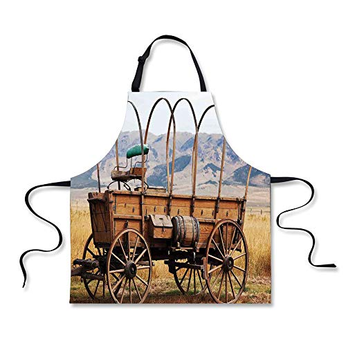 iPrint BBQ Apron,Western,Photo of Old Nostalgic Aged Wild West American Cart Carriage in The Farm Texas Style Decorative,Brown Yellow, Apron.29.5