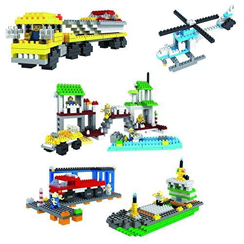 Micro Blocks BUNDLE (includes Police Helicopter, Power Boat Transporter, Marina Harbour, Harbour Model) Small Building Block Set, Nanoblocks Compatible