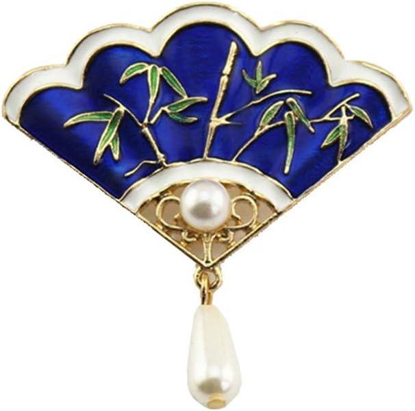 ZQword Retro Broches Elegante Temperamento Esmalte Azul Perla de Imitación Abanico Forma Broche para Las Mujeres Accesorios de Joyería Abrigo Cuello Aguja