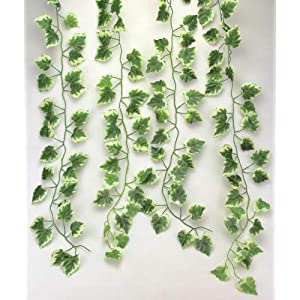 RayLineDo WHITE AND GREEN Color 2.0m/6.56feet Artificial White Edges Grape Leaf Garland Plants Fake Foliage Flowers Decoration Home Wall Party Decor Wedding Decal 72