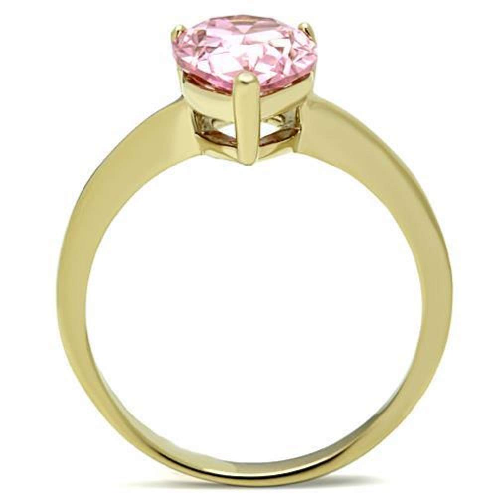 Women AAA Grade CZ Rose WildKlass Stainless Pear Steel Ring IP Gold Ion Plating