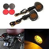 2x Black Motorcycle LED Rear Turn Signal Running Light Indicator Lamp-Amber Lens